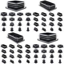 Square & Rectangle Plastic End Caps Blanking Plugs Tube Box Section Insert/BLACK