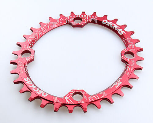 bolts Red Single Narrow Wide Oval Chainring Chain Ring BCD 104mm 32 34 36 38T