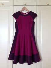 TED BAKER purple colour block dress fit & flare skater skirt party asos 1 8 BNWT