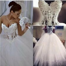 UK Sexy White/Ivory Pearls Wedding Dress Bridal Ball Gown Size 6-16