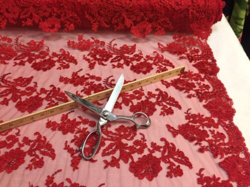 Embroidered Lace fabric Red Flower Corded Mesh Bridal-Wedding By The Yard
