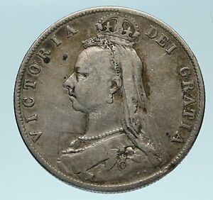 1889-UK-Great-Britain-United-Kingdom-QUEEN-VICTORIA-1-2-Crown-Silver-Coin-i83259