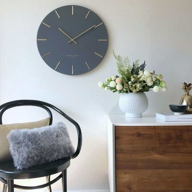 NEW One Six Eight London Luca Wall Clock, Charcoal Grey, 40cm