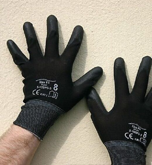 24 Pairs Of Brand New Black Nylon PU Safety Work Gloves Builders Grip Gardening