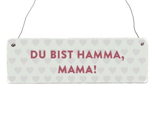 Holzschild Shabby DU BIST HAMMA MAMA Muttertag Geschenk Statement Türschild
