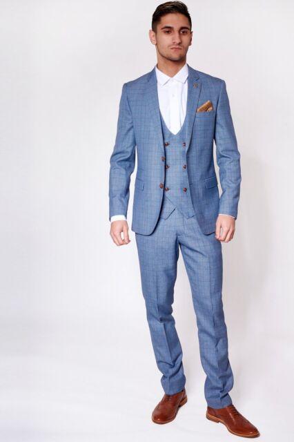Mens Marc Darcy Designer Light Blue Check Print Three Piece Wedding Summer Suit