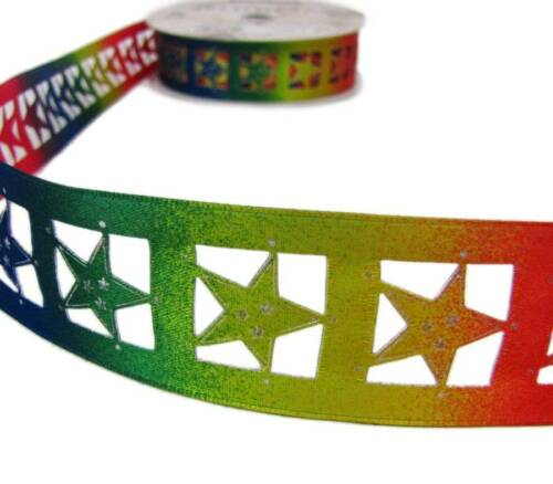 "Ribbon Queen 1.5/"" Wide Wire Edged Rainbow Multi Colour Star Ribbon"