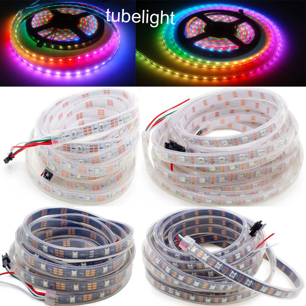 50m WS2812B LED Strip Light 5050 RGB 30 60 LEDs Pixels addressable IP67 Proof 5V