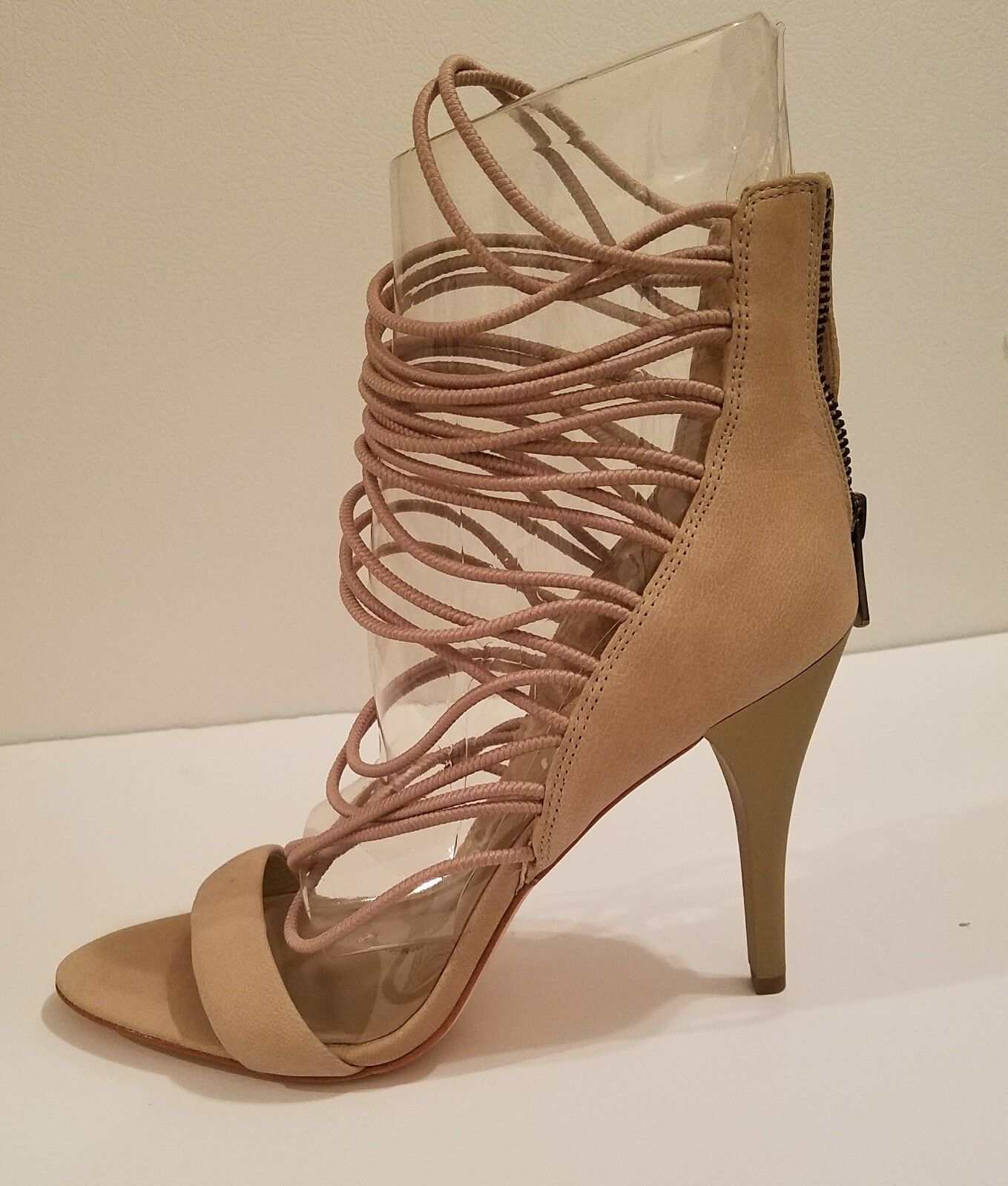 BCBGMaxazria Beige Ma-Nikole Nature Caged Open Toe Sandal shoes  Sz 10(B,M)