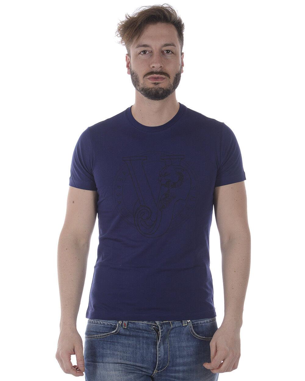 T shirt Maglietta Versace Jeans Sweatshirt SLIM Cotone  Herren Blu B3GRA77C 239