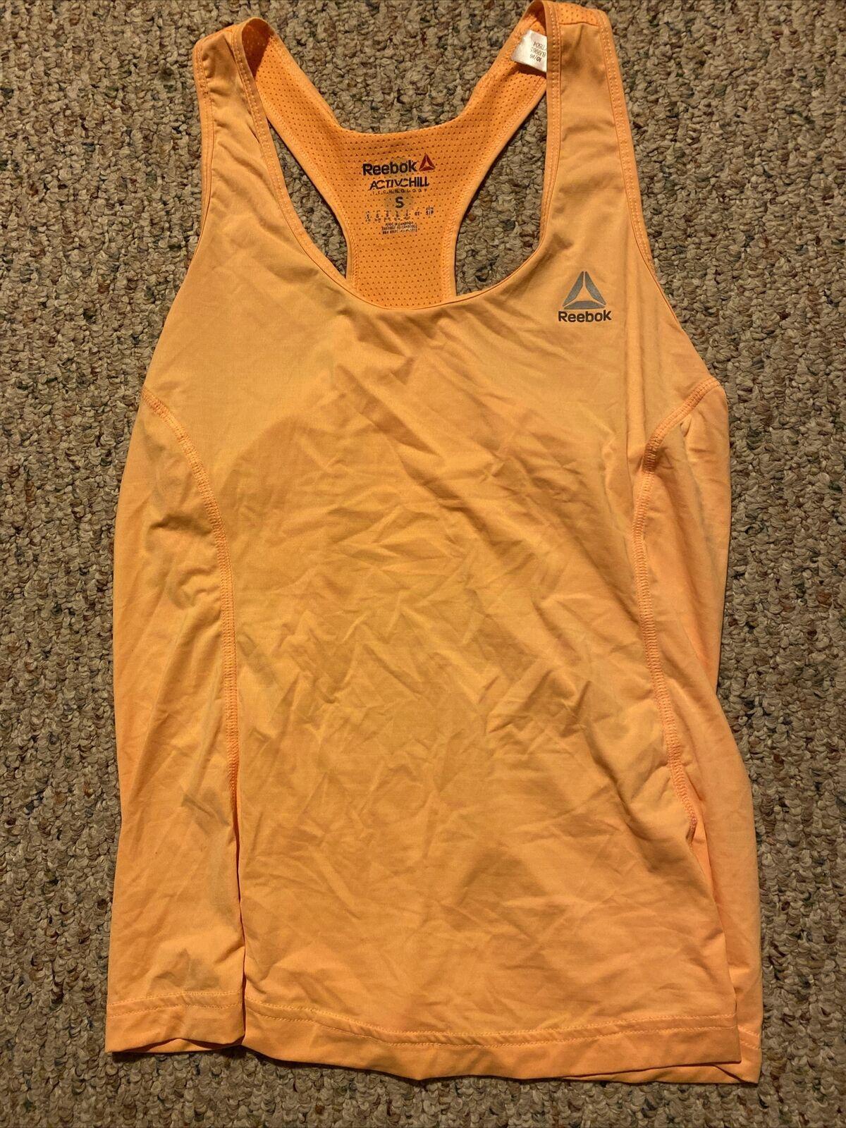 Reebok Active Chill Womens S Orange Halter Top Shirt Running Athletic Keep Cool