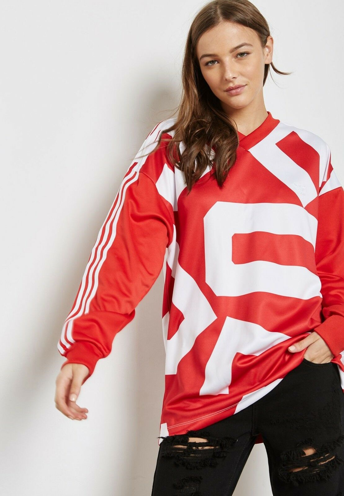 Adidas Originals Originals Originals Womens M Bold Age Long Sleeve Top Oversize Sweatshirt Red White 33562c