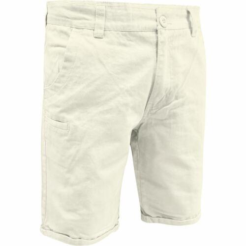 Nouveau Homme Slim Short Chino Cargo Longueur Genou twill 100/% Coton Demi Pantalon 30-44