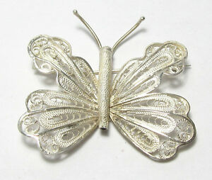 Solid-Sterling-Silver-Filigree-Butterfly-Moth-Pin-Brooch