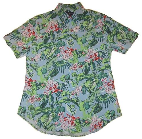 tropical de Hombre corta Slim camisa Fit floral manga Oxford Lauren azul Ralph Polo wBqWTnFFY