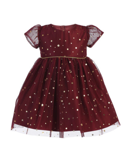 Burgundy Navy Blue Baby Girls Dress Flower Star Gold Print Christmas Holidays 62