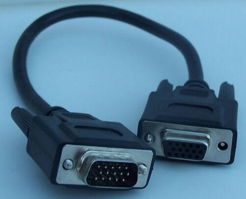 "12/"" VGA Male~Female Monitor Extension Monitor Port Saver HD15 male female 1 Foot"