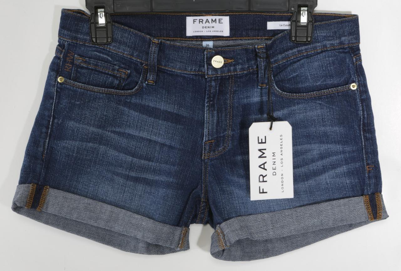 FRAME DENIM Womens Dark-bluee-Wash Mid-Rise Cuffed LE CUTOFF Jean Shorts 26 NEW