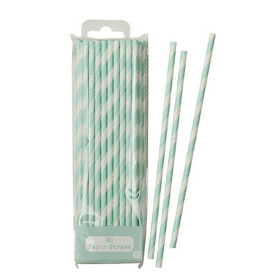 Lace Mint Green & White Stripe Striped Stripy Paper Party Straws Pack of 30