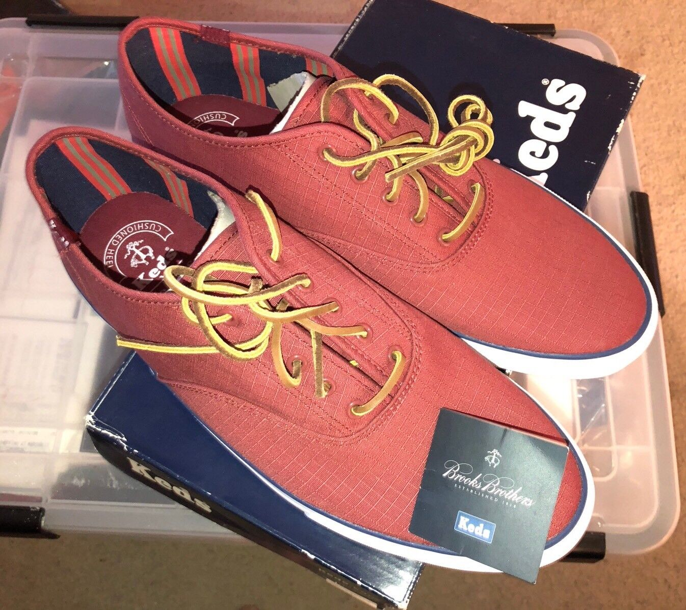 Vintage Keds X Brooks Bredhers Collaboration Maroon shoes Sneakers Size 11.5