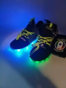 Details about NEW Flash Lights Light Up Rechargeable Shoe Sneakers Black Gray Boy's Size 4