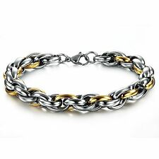 Kings & Lions 18K Gold Plated Stainless Steel Chain titanium Bracelet for Men