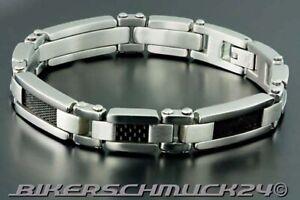 Biker-Armband-mit-Design-in-Carbon-Optik-316L-Edelstahl-poliert-Herren-Geschenk