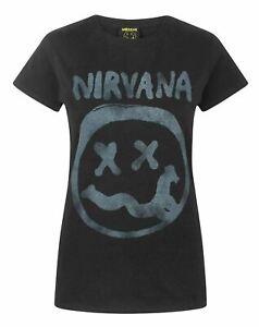 Nirvana-Smiley-Logo-Women-039-s-T-Shirt