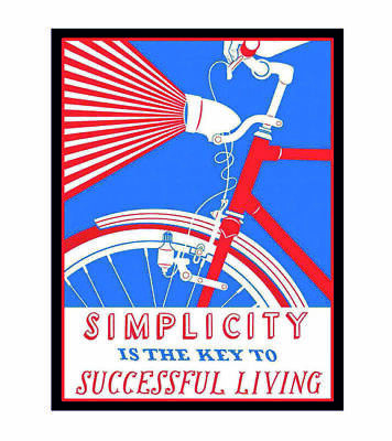 3514.Simplicity is the Key to success POSTER.Bicycle School Home Art decoration