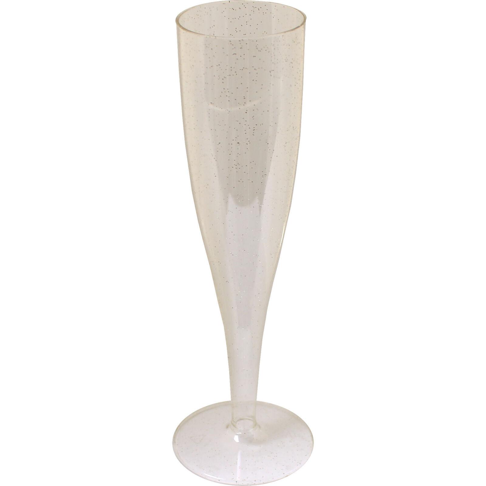 Einteiler Plastik Transparent mit Gold Glitzer Champagner Glas Party Weihnachten