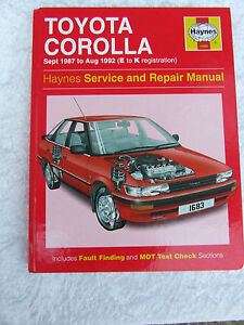 toyota corolla haynes service repair manual 1987 to 1992 e to k rh ebay ie 1990 Toyota Corolla Speed Sensor 1995 Toyota Corolla Repair Manual