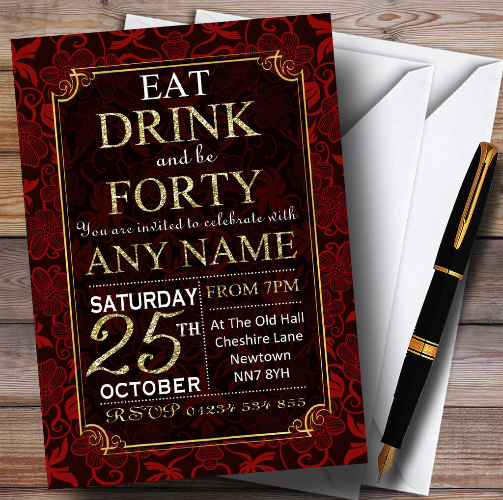 Rot Gold Flowers 40th Personalised Birthday Party Invitations