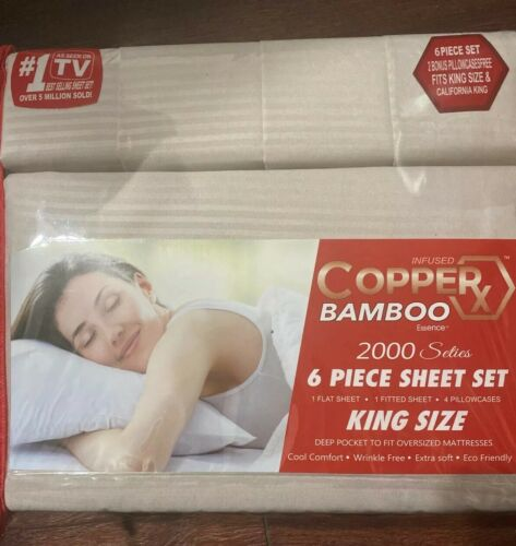 Infused Copper X Bamboo Essence 2000 Seties 6pc Sheet Set King Size