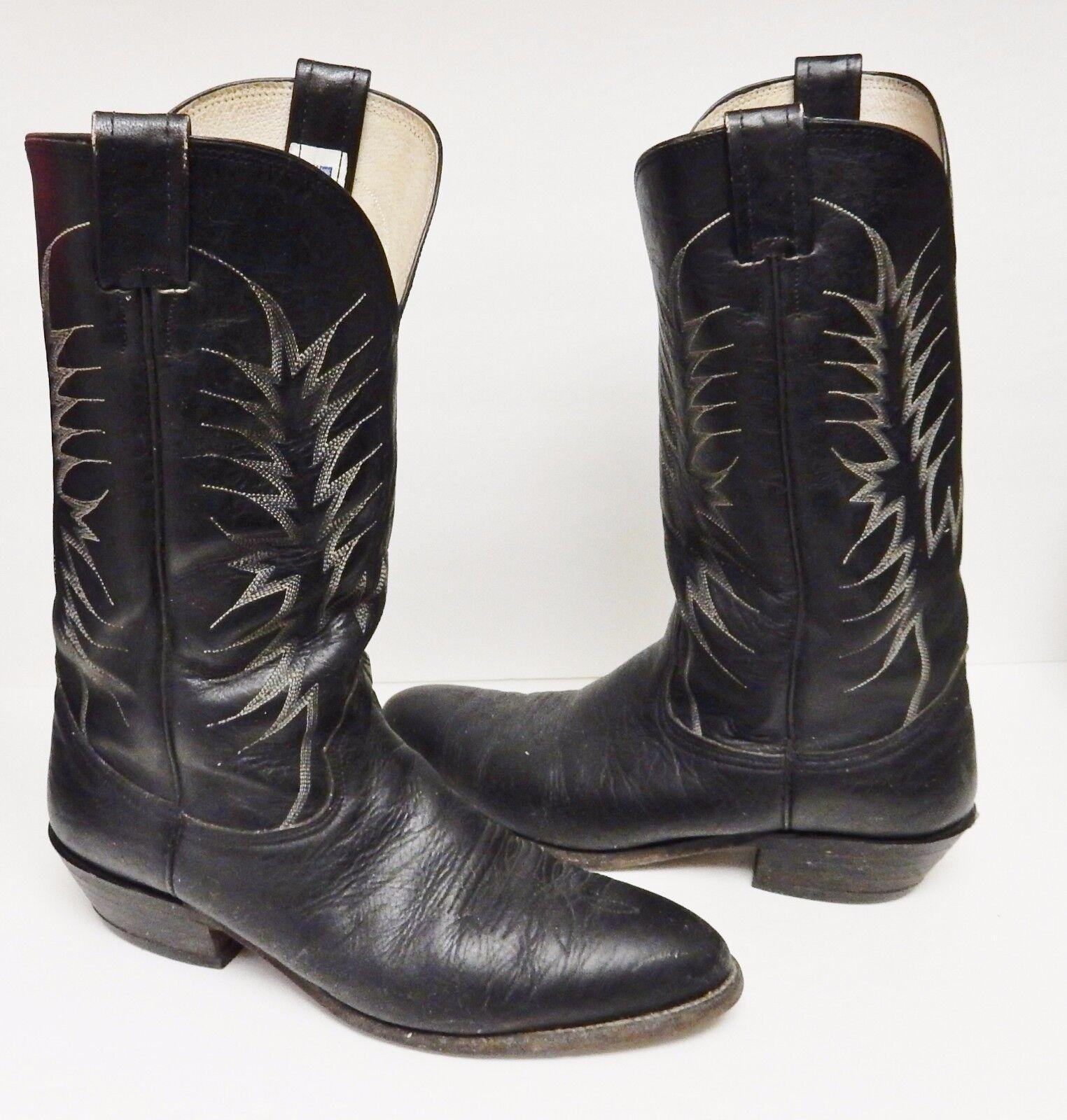 Nocona Bullhide Boots Leather Western Cowboy 6501 USA Black Men's Size 10 D