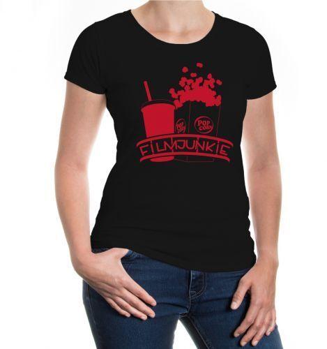 Damen Kurzarm Girlie T-Shirt Filmjunkie Fernsehen Kino Popcorn Softdrink Serie