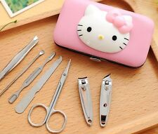 7pcs Cute Hello Kitty Nail Clippers Set Stainless Manicure Set Kit Case Gift New