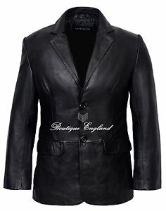 Men-039-s-Leather-Blazer-Black-Formal-Classic-Tailored-SOFT-GENUINE-LEATHER-9124