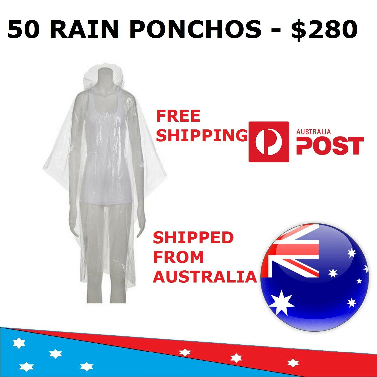 50 Emergency Unisex Rain Ponchos - Free Shipping -Shipped From AUS