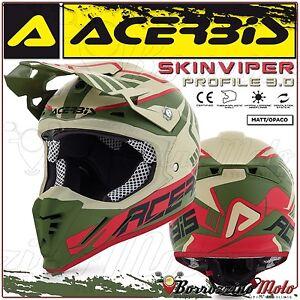 CASQUE-ACERBIS-PROFILE-3-0-SKINVIPER-MOTOCROSS-ENDURO-SABLE-VERT-MATE-TAILLE-L