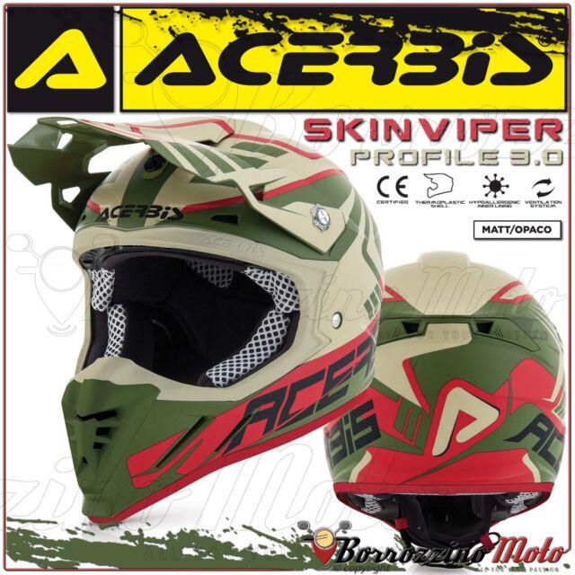 CASQUE ACERBIS PROFILE 3.0 SKINVIPER MOTOCROSS ENDURO SABLE/VERT MATE TAILLE M