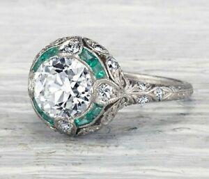 2.70CT EMERALD CUT DIAMOND ART DECO ENGAGEMENT WEDDING 925 STERLING SILVER RING