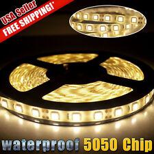 Warm White 300 LED 5050 SMD Strip Light Waterproof 5M Flexible LED Lamp DC 12V