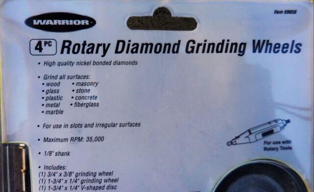 Large Diamond Rotary Grinding Wheel Set 4 Pc Grind Carbide Glass Marble Masonry