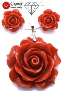 35mm-Red-Synthesize-Rose-Coral-Pendant-amp-15mm-Earrings-for-Women-Set-pen157
