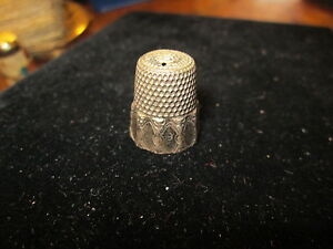 "Antique Sterling Silver Thimble*9* C1890s marked ""S"" INSIDE TOP"