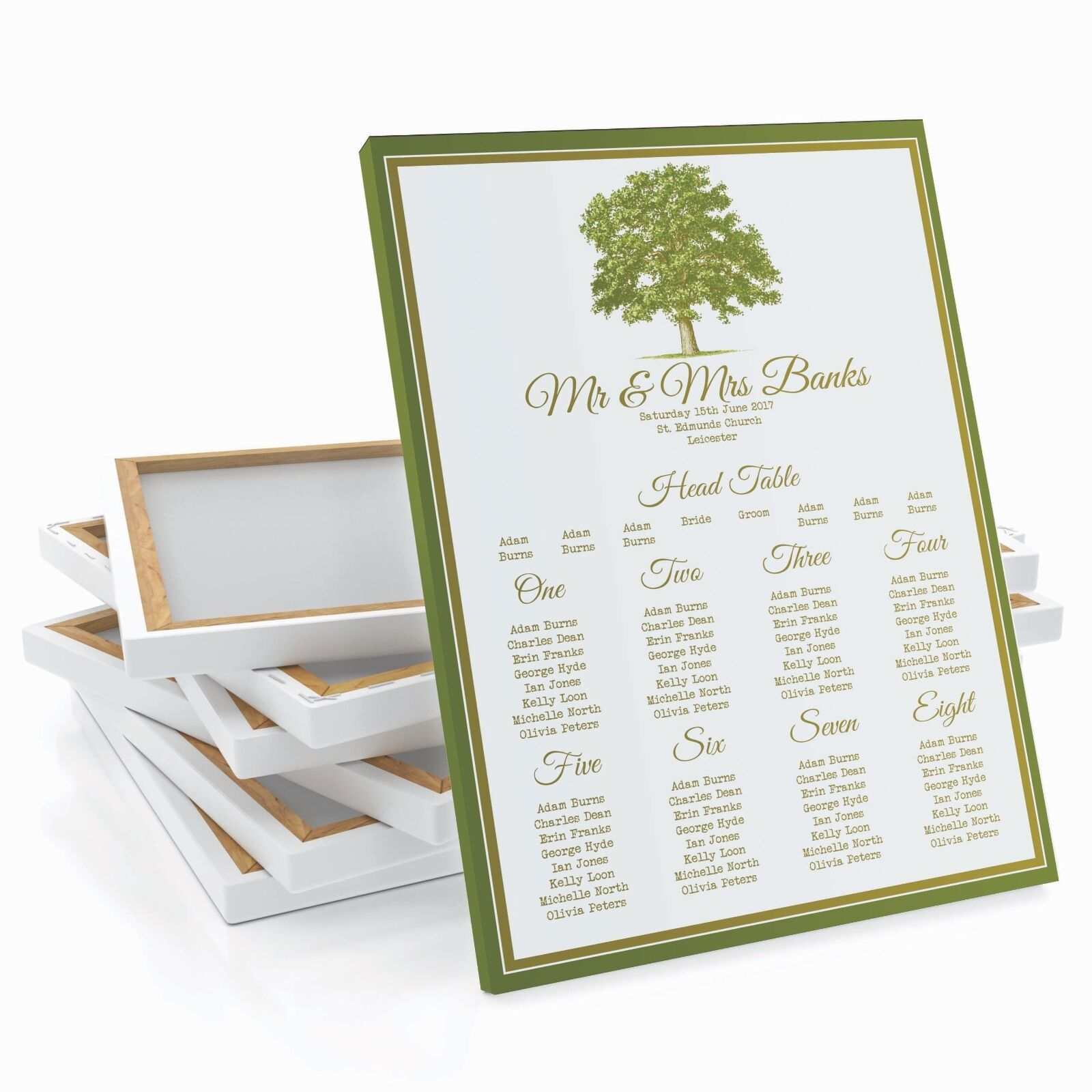 Personalised Oak Tree Wedding Table   Seating Plan Large A1 A2 A3