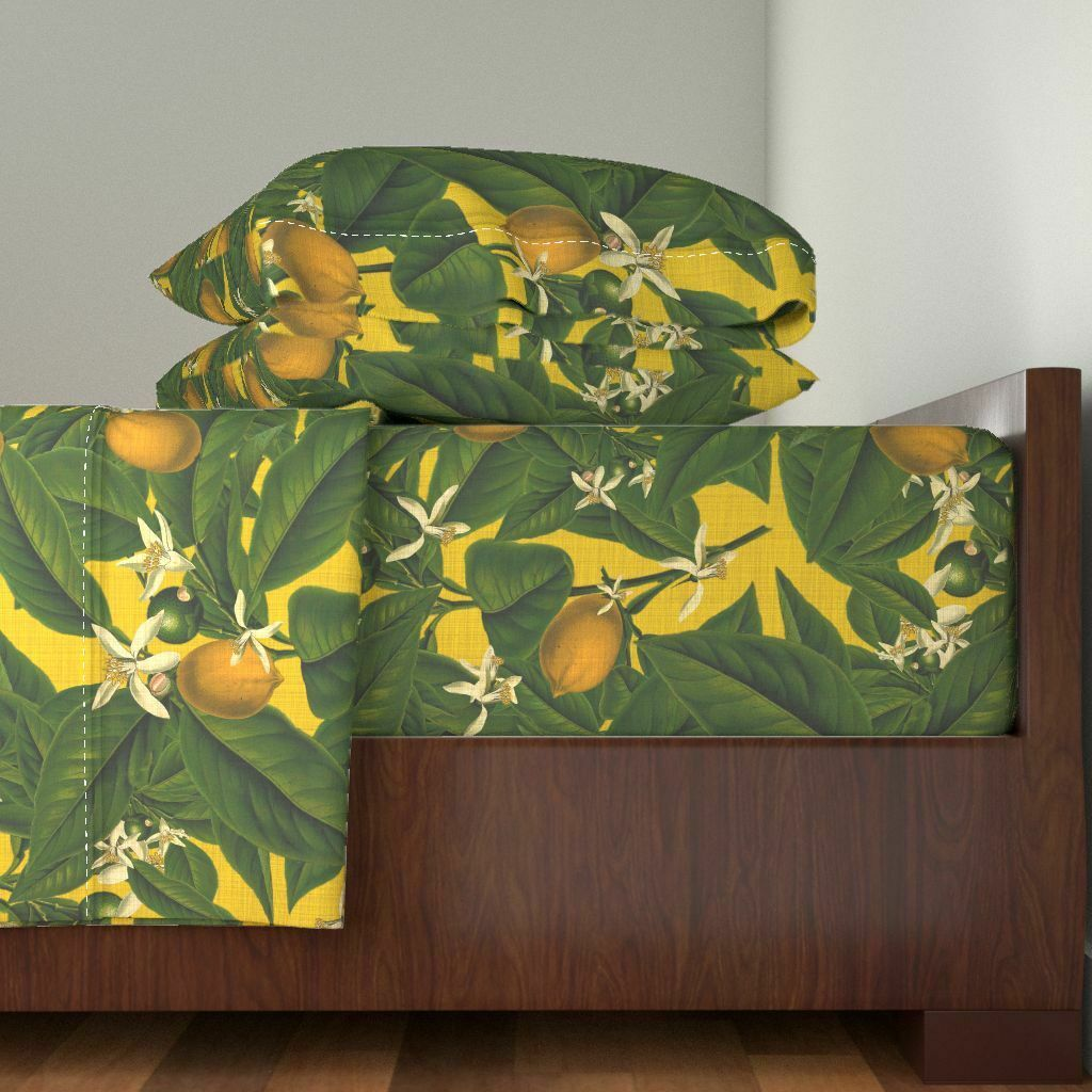 Lemon Citrus Fruit Botanical Leaves 100% Cotton Sateen Sheet