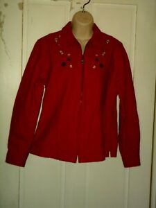 Image is loading L-L-BEAN-chamis-shirt-jacket-RED-fitted-Princess-
