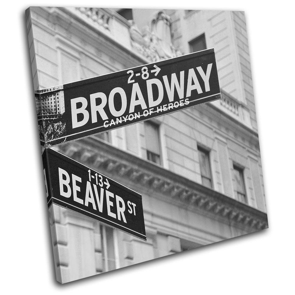 New York Streetsign Broadway NYC USA City SINGLE TOILE murale ART Photo Print