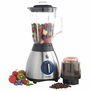 VonShef Jug Blender 1.5L Multi Food Processor Grinder Smoothie Maker Silver 600W